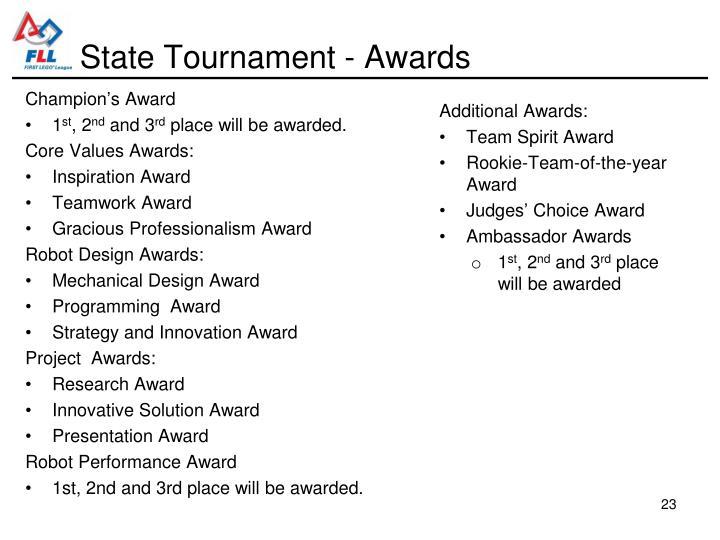 State Tournament - Awards