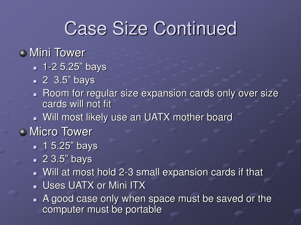 Case Size Continued