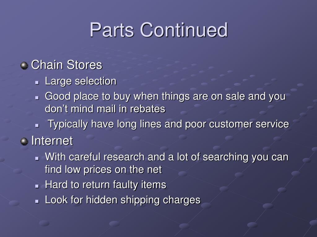 Parts Continued