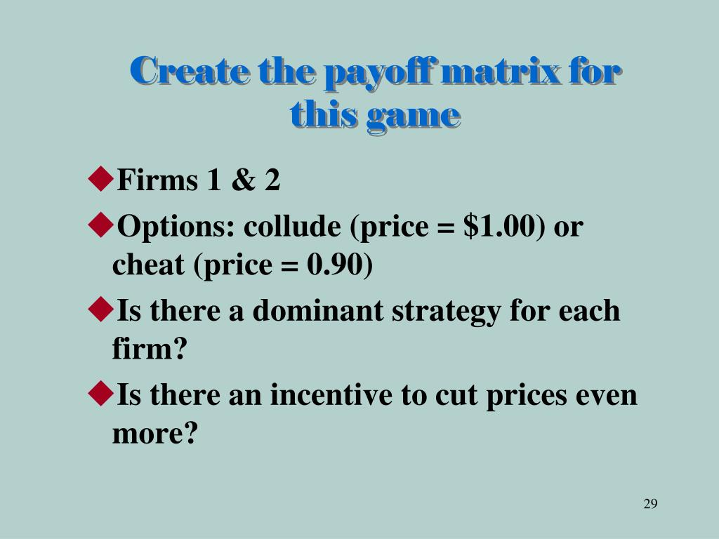 Create the payoff matrix for this game
