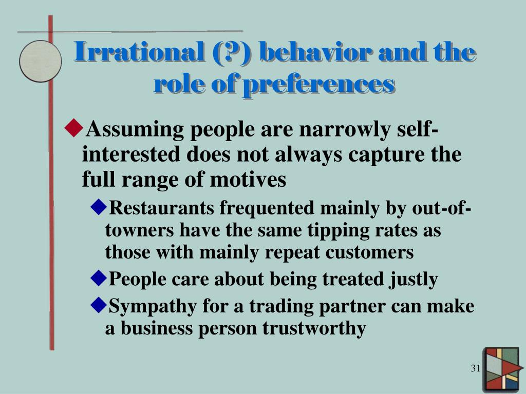 Irrational (?) behavior and the role of preferences