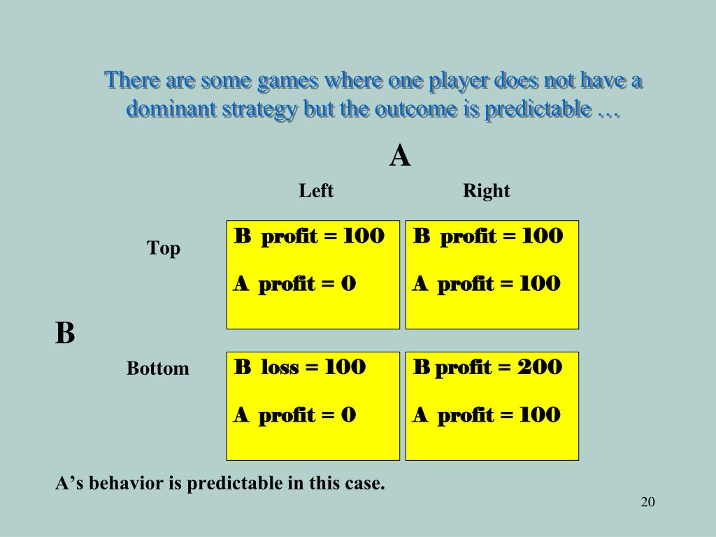There are some games where one player does not have a dominant strategy but the outcome is predictable …