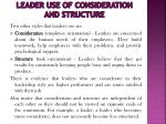 leader use of consideration and structure