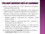 two most important keys of leadership