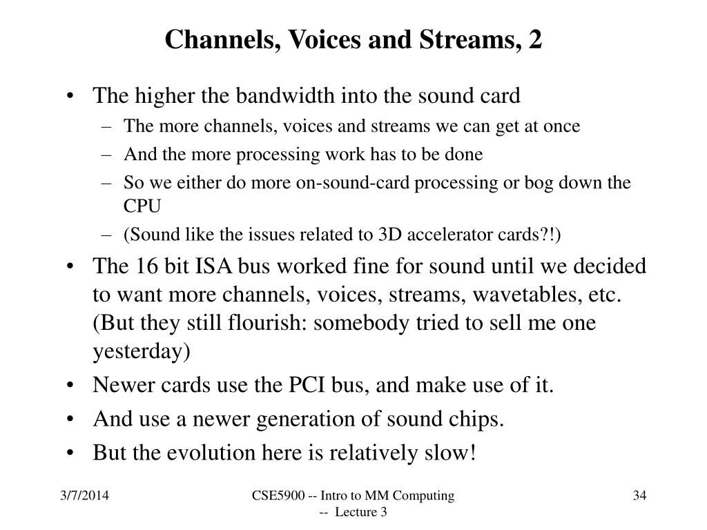 Channels, Voices and Streams, 2