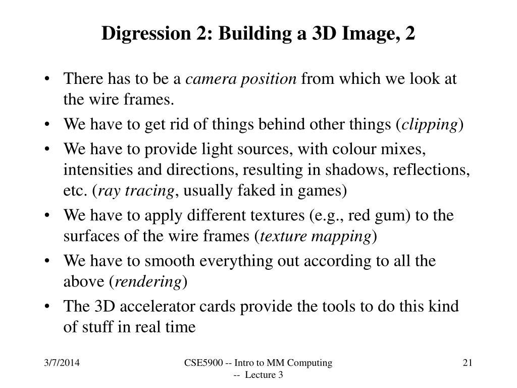 Digression 2: Building a 3D Image, 2