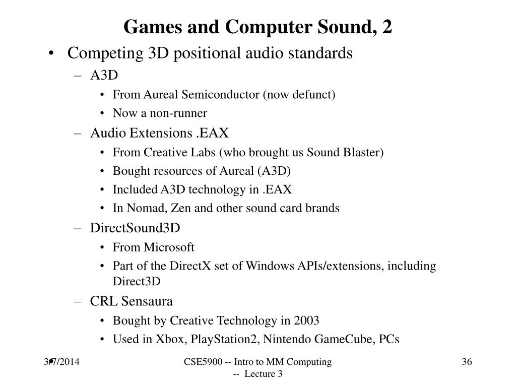 Games and Computer Sound, 2
