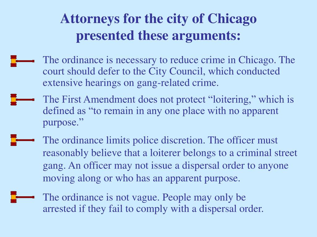 Attorneys for the city of Chicago presented these arguments: