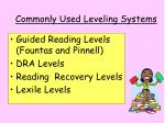 commonly used leveling systems