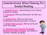 considerations when planning for guided reading