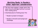 matching books to readers other important considerations