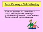task knowing a child s reading