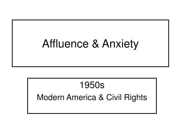Affluence anxiety
