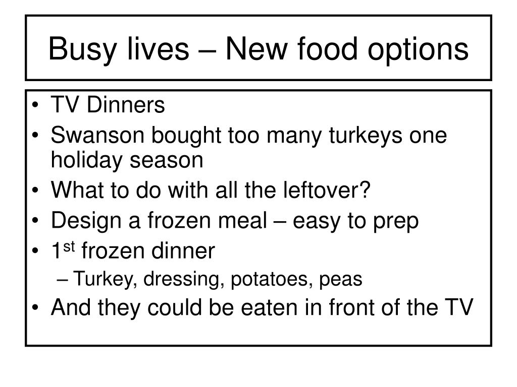 Busy lives – New food options