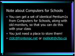note about computers for schools