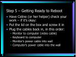 step 5 getting ready to reboot