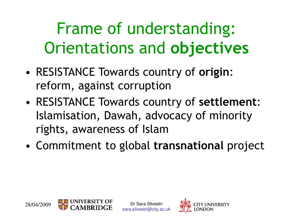 Frame of understanding: Orientations and