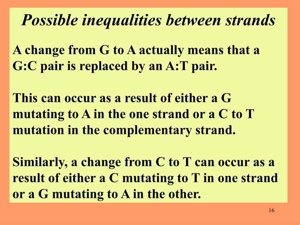 Possible inequalities between strands