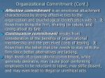 organizational commitment cont