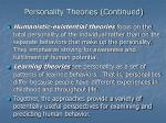 personality theories continued