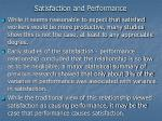 satisfaction and performance