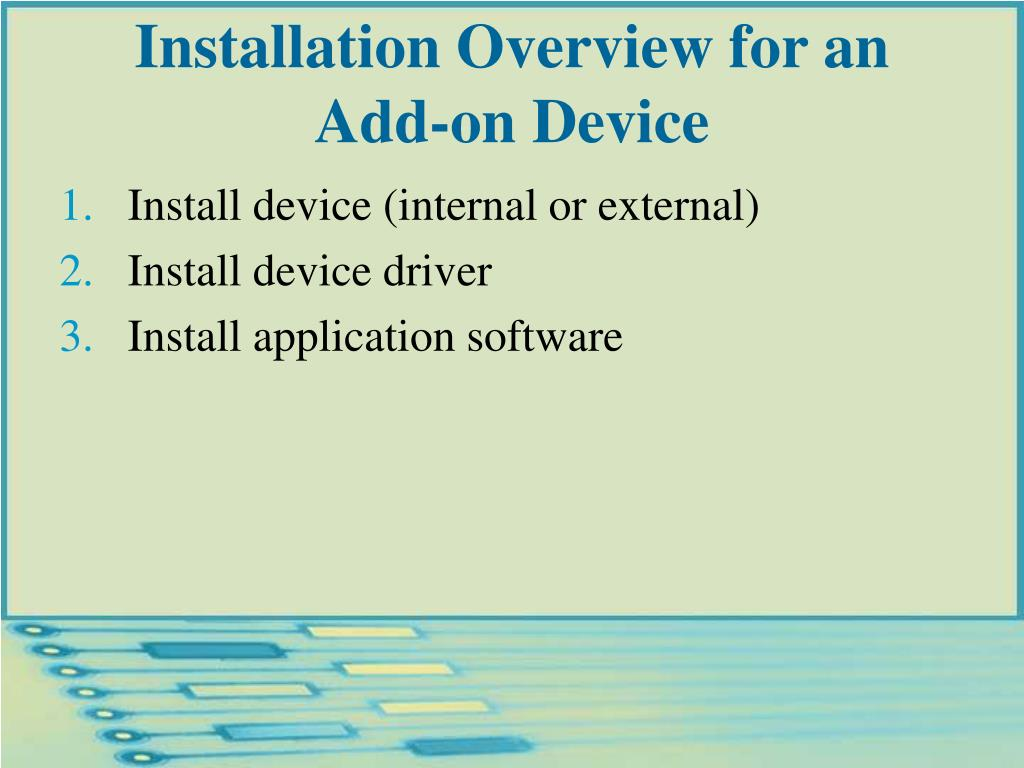 Installation Overview for an Add-on Device