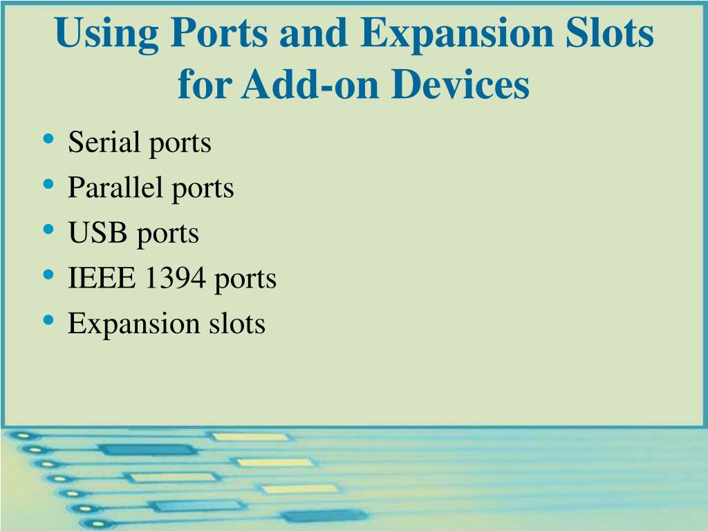 Using Ports and Expansion Slots for Add-on Devices
