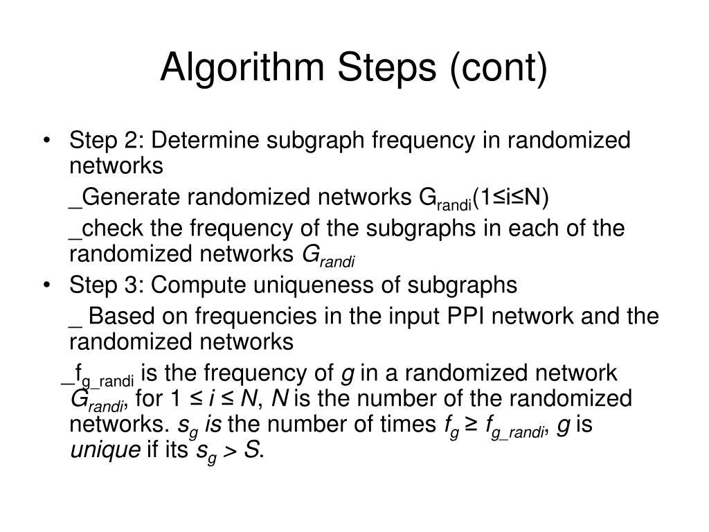 Algorithm Steps (cont)