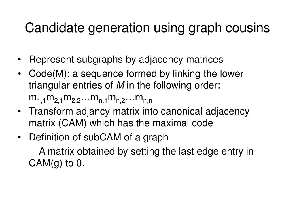 Candidate generation using graph cousins