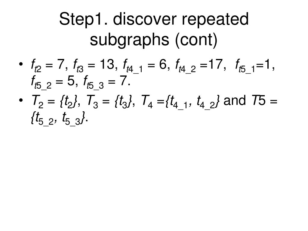 Step1. discover repeated subgraphs (cont)
