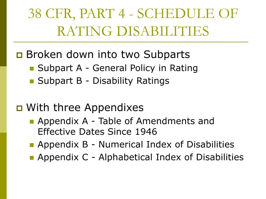 38 CFR, PART 4 - SCHEDULE OF RATING DISABILITIES