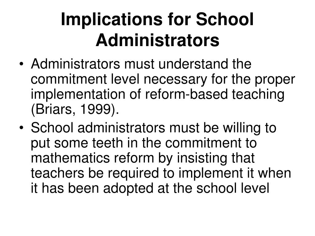 Implications for School Administrators