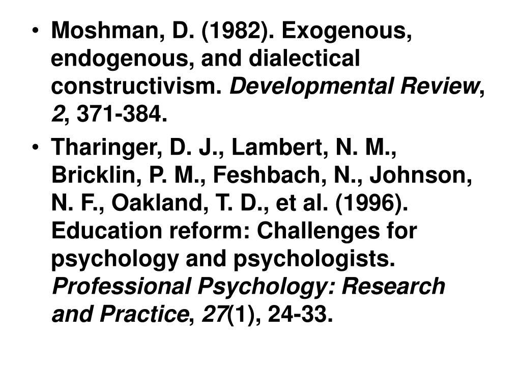 Moshman, D. (1982). Exogenous, endogenous, and dialectical constructivism.