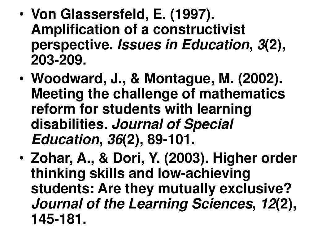 Von Glassersfeld, E. (1997). Amplification of a constructivist perspective.