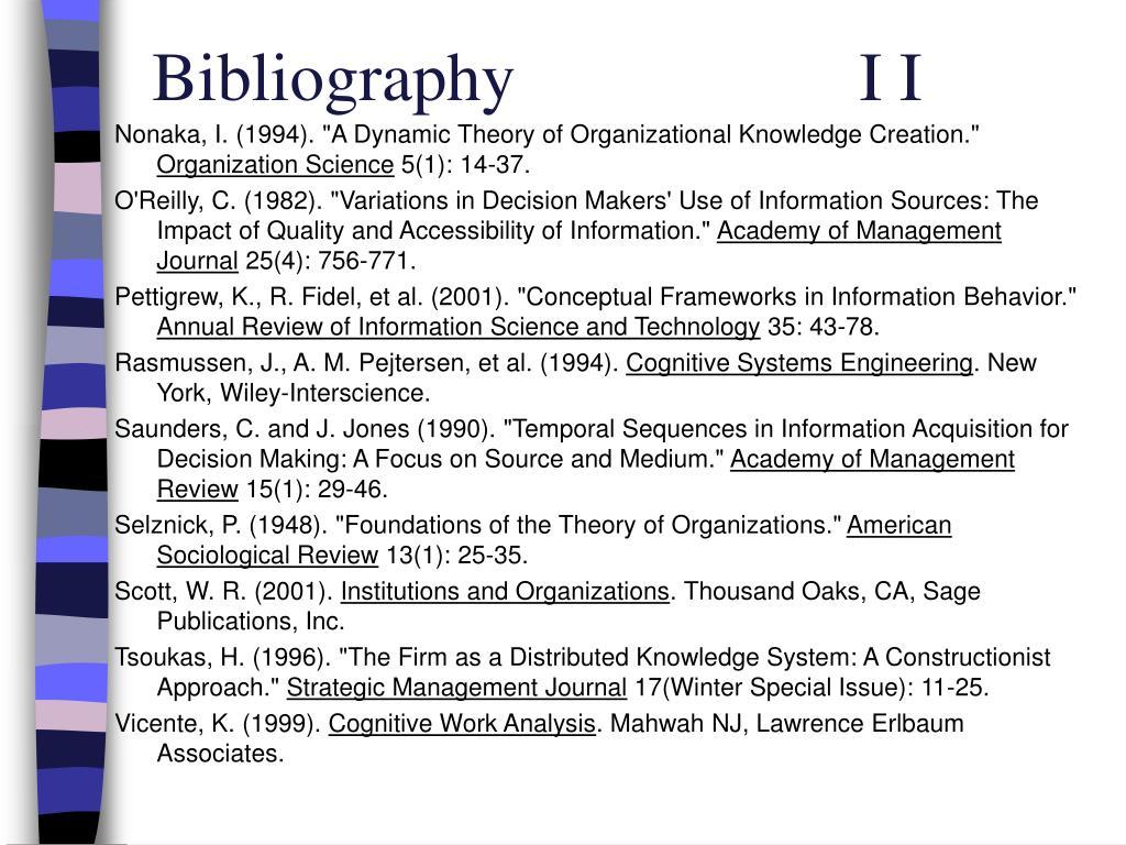 Bibliography                    I I