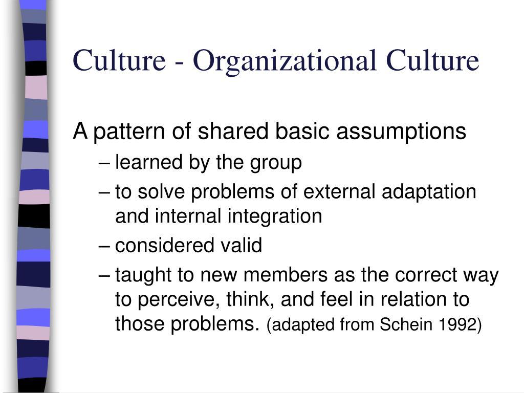 Culture - Organizational Culture