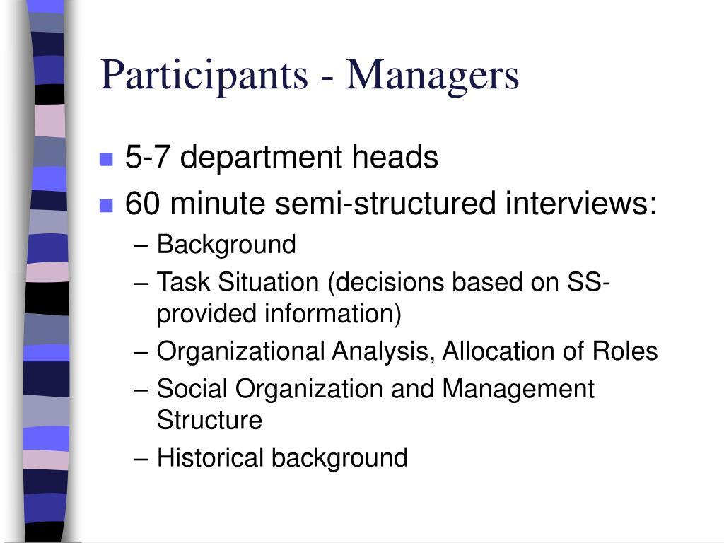 Participants - Managers