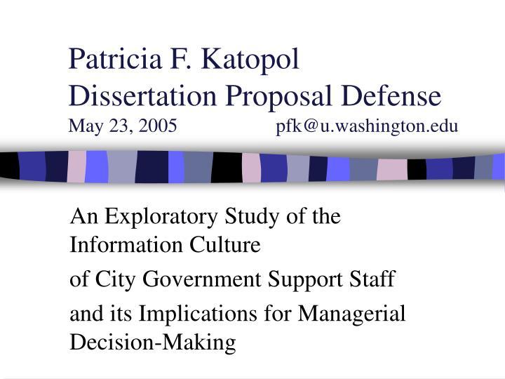 Patricia f katopol dissertation proposal defense may 23 2005 pfk@u washington edu