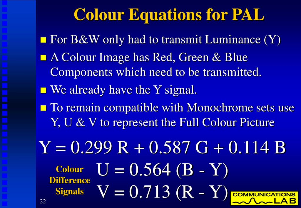 Colour Equations for PAL
