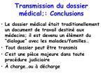 transmission du dossier m dical conclusions