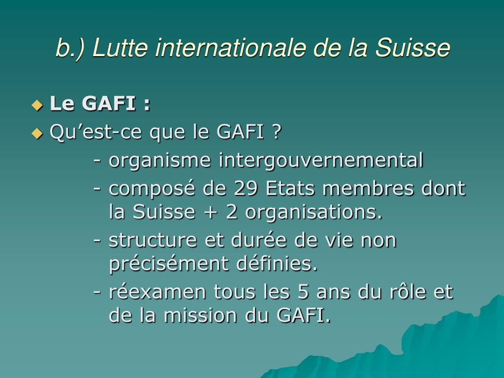 b.) Lutte internationale de la Suisse
