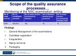scope of the quality assurance processes44