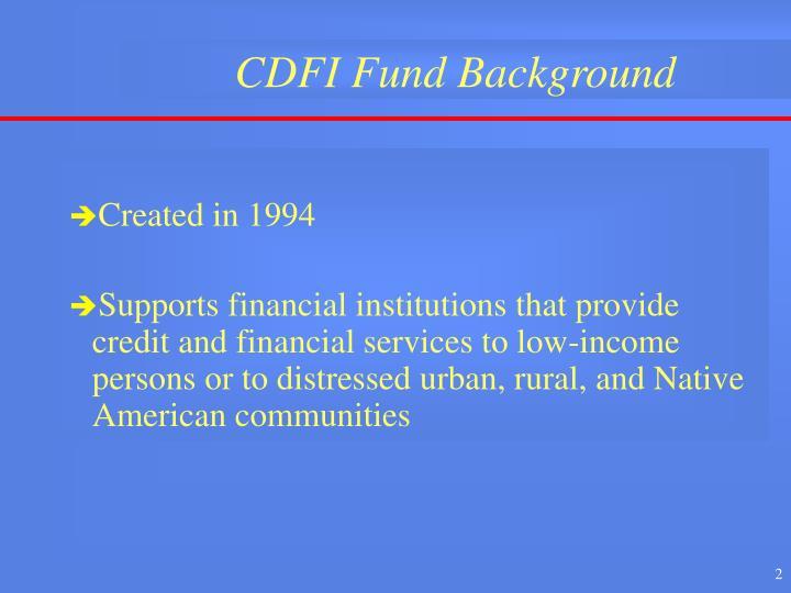 Cdfi fund background