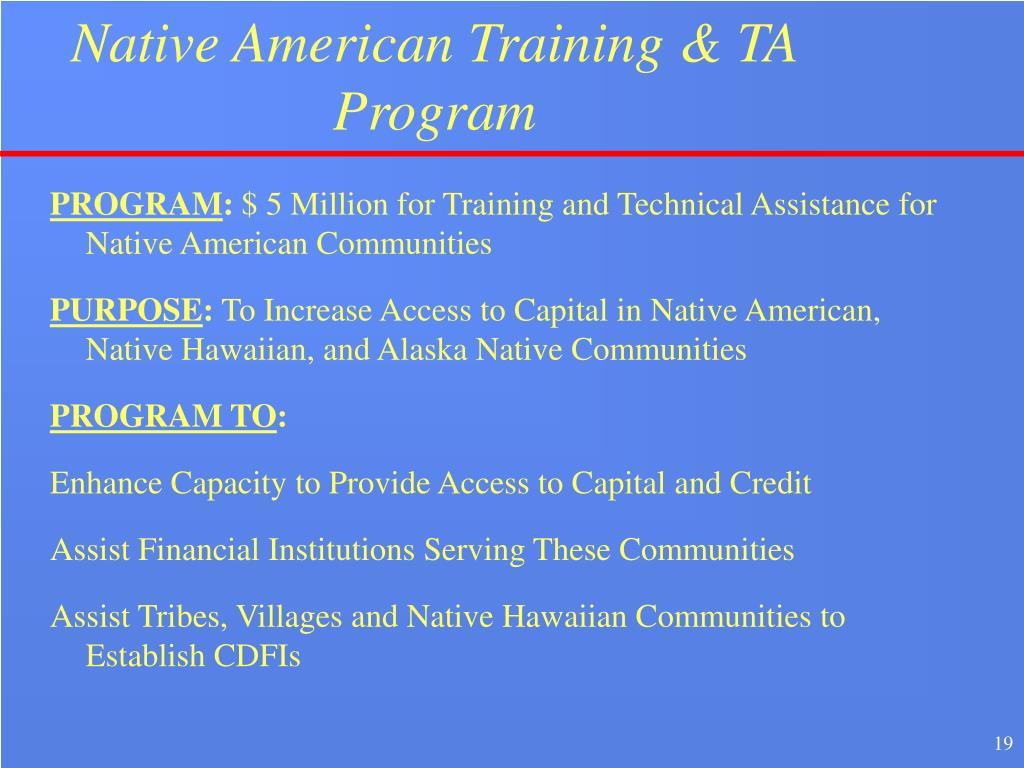 Native American Training & TA Program