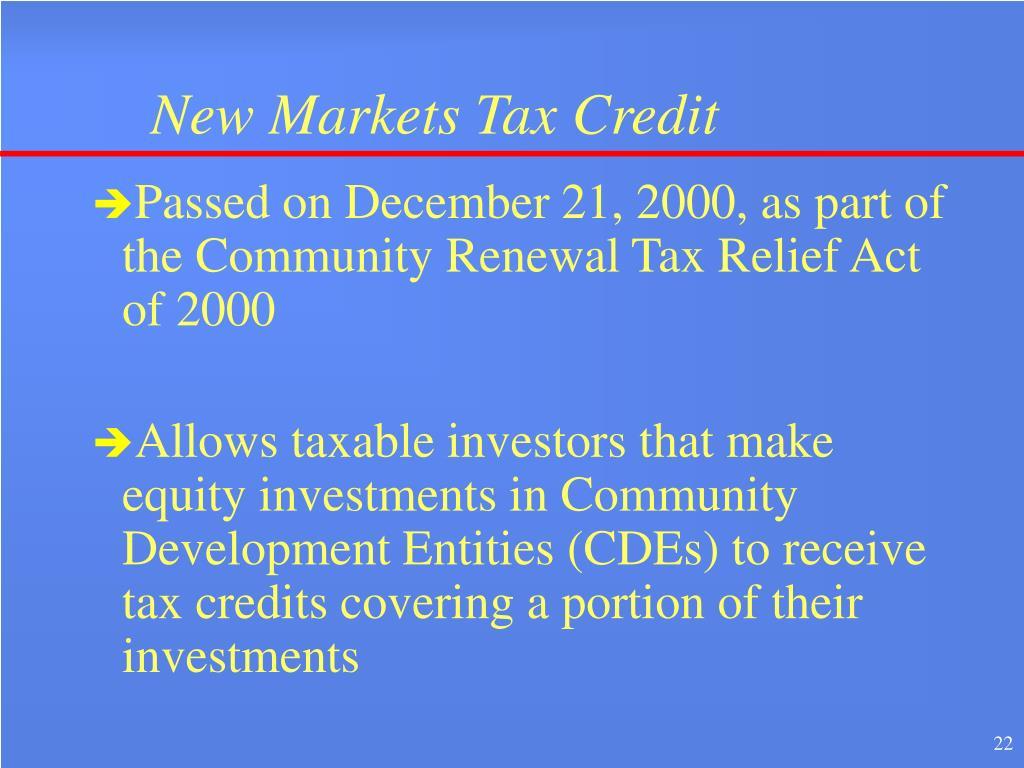 New Markets Tax Credit