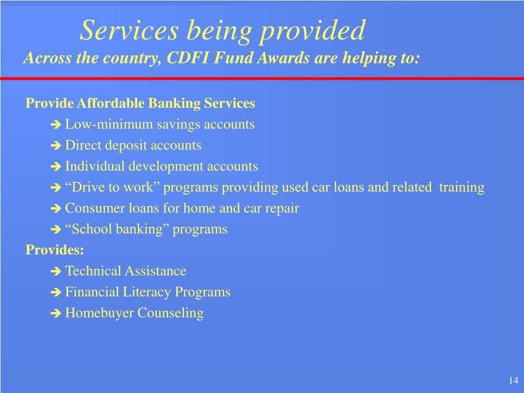 Services being provided