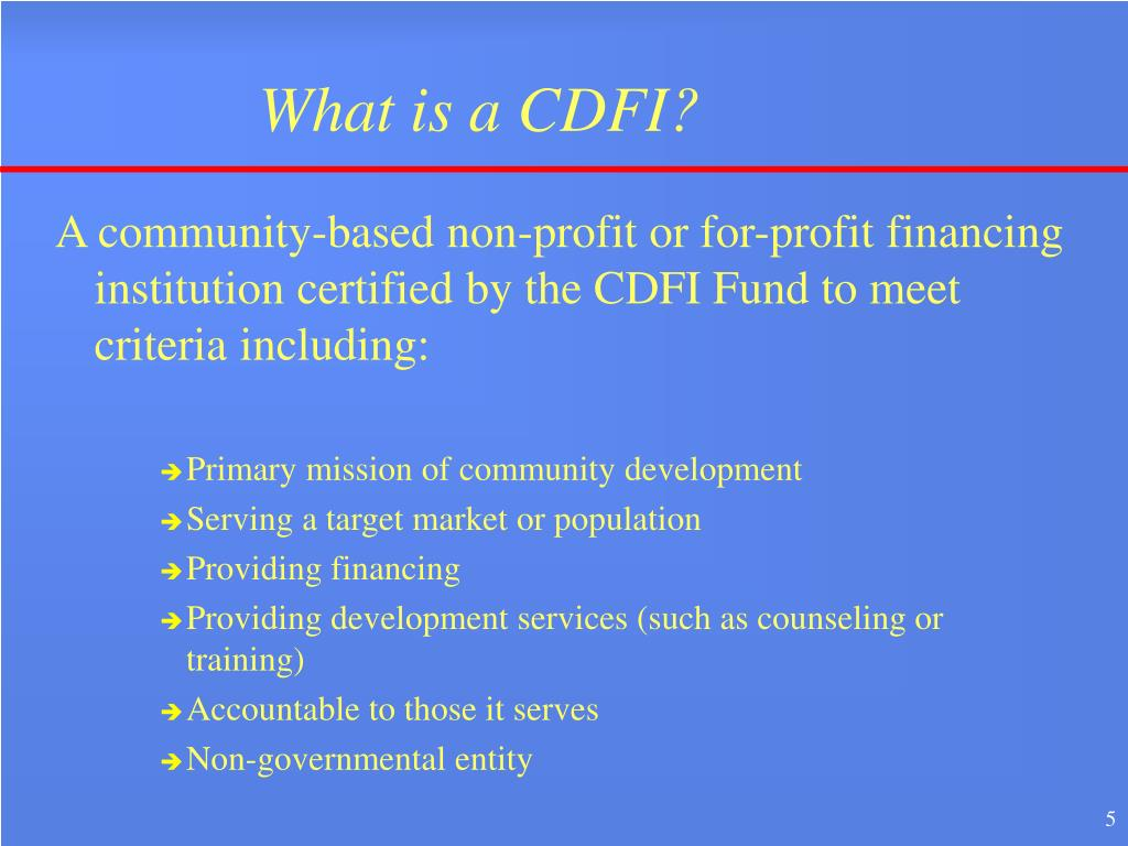 What is a CDFI?