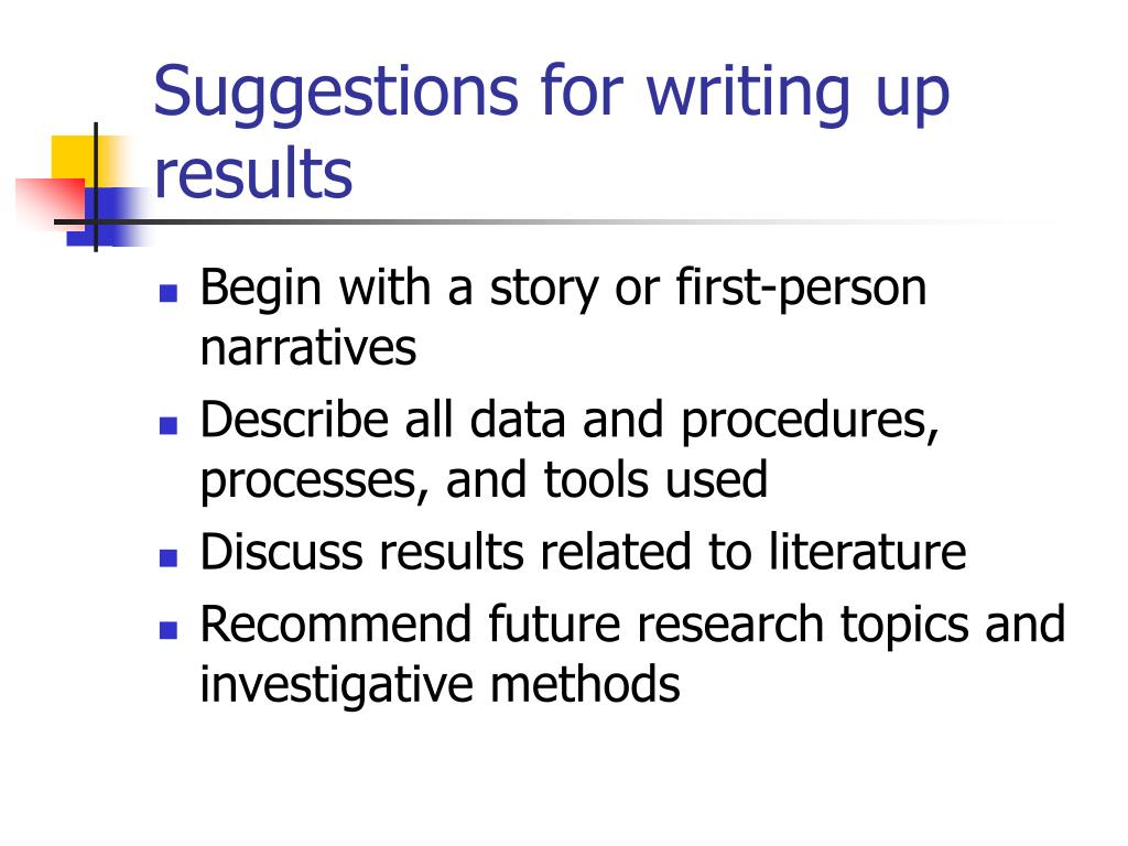 Suggestions for writing up results