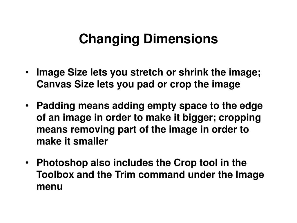 Changing Dimensions