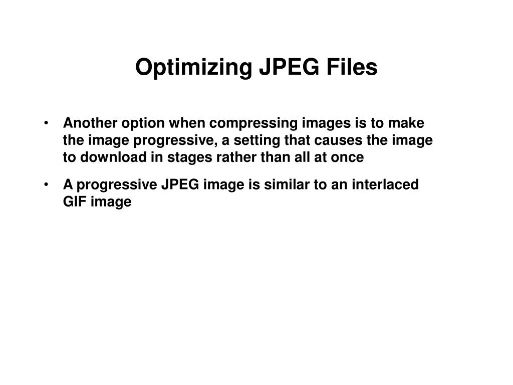 Optimizing JPEG Files